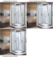 Vidalux Left Hand Pure-E 1200mm x 800mm Quadrant Shower Pod With Electric Shower Option
